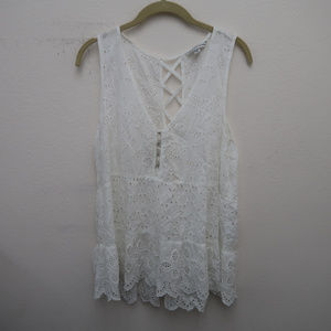 American Eagle White Crochet Cut Out Back Top